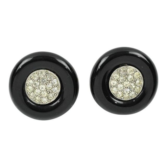 Angela Caputi Black Resin and Clear Rhinestones Stud Earrings For Sale
