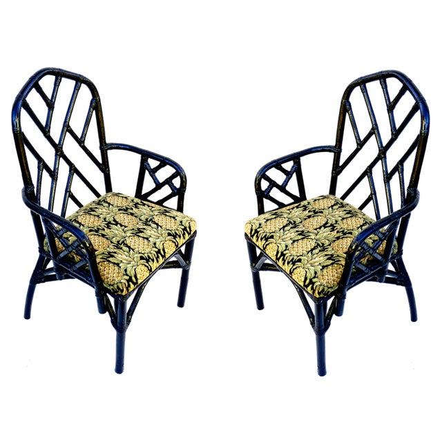 Vintage Bamboo Chippendale Arm Chairs - A Pair For Sale - Image 10 of 12