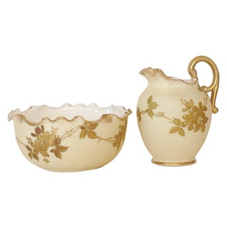 Belleek Willets Creamer and Sugar, 1890 For Sale