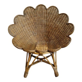 Tea Stain Wicker Shell Chair For Sale