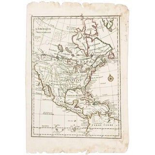 Mid 18th Century French Map of North America, George Louis Le Rouge's l'Amerique Septrionale, Paris For Sale