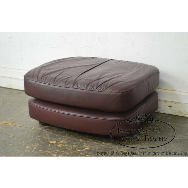 Classic Leather Bun Foot Russet Brown Leather Ottoman For Sale - Image 12 of 13
