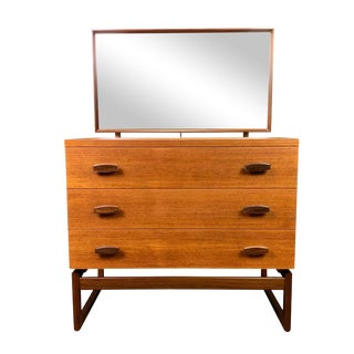 """1960s Mid Century ModernG Plan """"Quadrille"""" Teak Chest of Drawers and Mirror For Sale"""