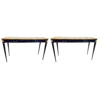 Pair of Ebony Maison Jansen Style Mirror Top 2 Drawer Console With Bronze Mounts For Sale