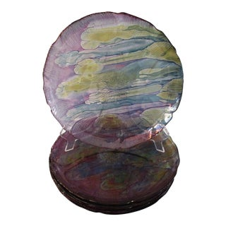 Watercolor Glass Dinner Plates - Set of 6 For Sale