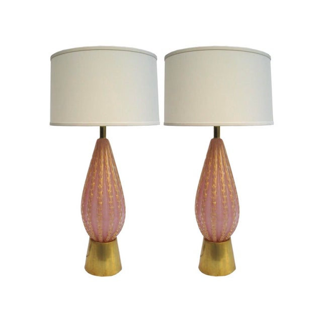 Fratelli Toso Pair of Vintage Large Fratelli Toso Pink & Gold Murano Glass Table Lamps For Sale - Image 4 of 4