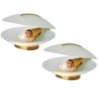 Max Ingrand Glass and Brass Shell Table Lamps for Fontana Arte, Circa 1960