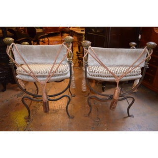 Antique Italian His and Hers Curule Savonarola Campaign Throne Chairs Newly Upholstred - Pair Preview
