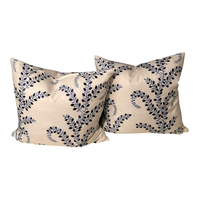 """Pretty in Blue"" Pillows - a Pair of Baris Chambray Embroidered by Duralee - Image 1 of 6"