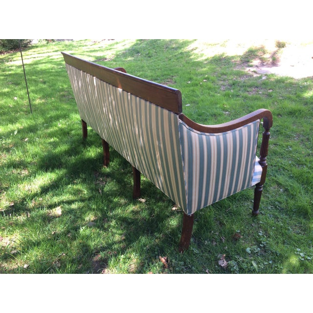 Traditional Antique Sheraton Style Loveseat - Image 3 of 11