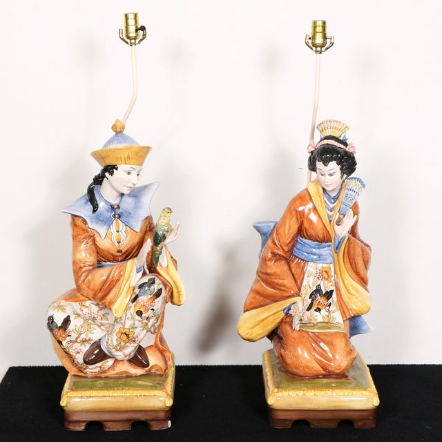 Capodimonte Chinese Table Lamps - Pair - Image 2 of 11
