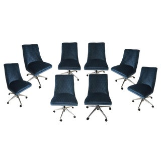 Vintage Mistral Tufted Velvet Office Chairs - Set of 8 For Sale