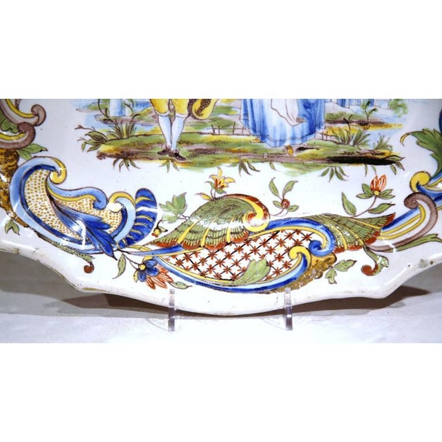 Ceramic 19th Century Hand Painted Oval Platter For Sale - Image 7 of 8