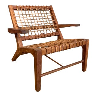 Teak and Woven Leather Armchair For Sale
