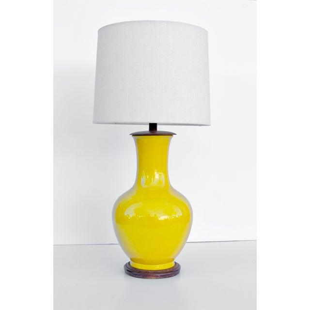 1970s Acid Yellow Ceramic Lamp For Sale - Image 5 of 5