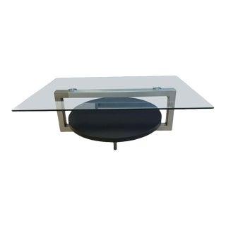 Modern Glass Top Metal + Wood Base Coffee Table For Sale