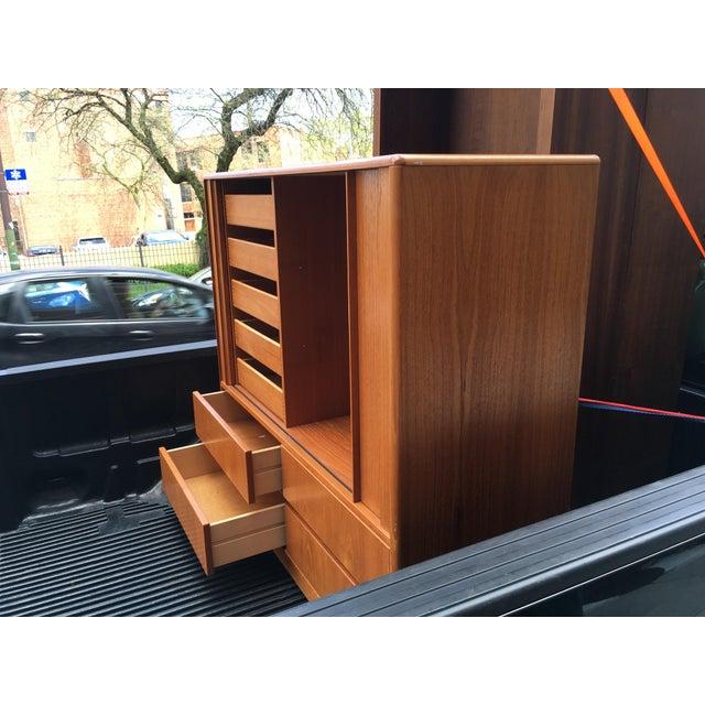 Wood Jesper Mid-Century Danish Teak Tambour Door Highboy Dresser For Sale - Image 7 of 10