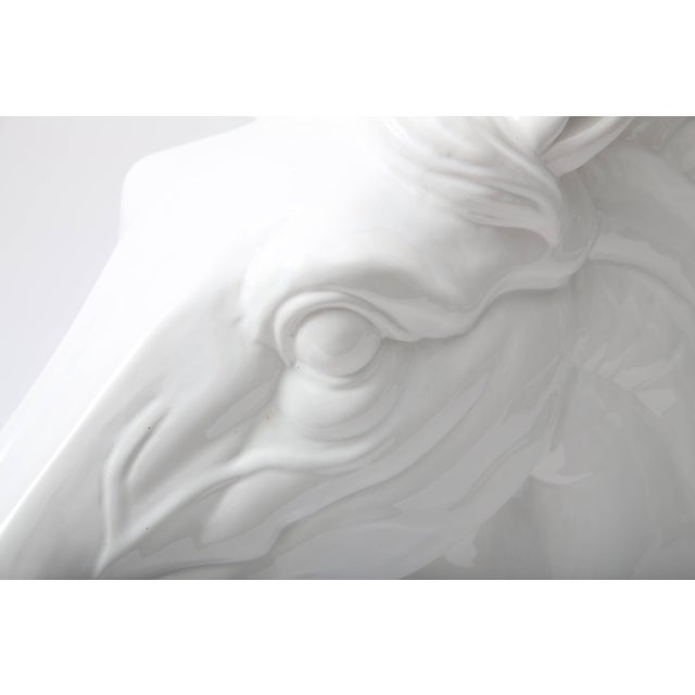 Figurative Large Scale White Horse Head Sculpture For Sale - Image 3 of 10