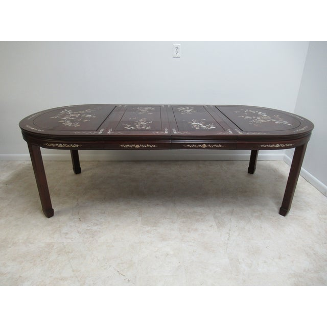 Vintage Rosewood Chinese Chippendale Mother of Pearl Dining Room Banquet Table For Sale In Philadelphia - Image 6 of 11