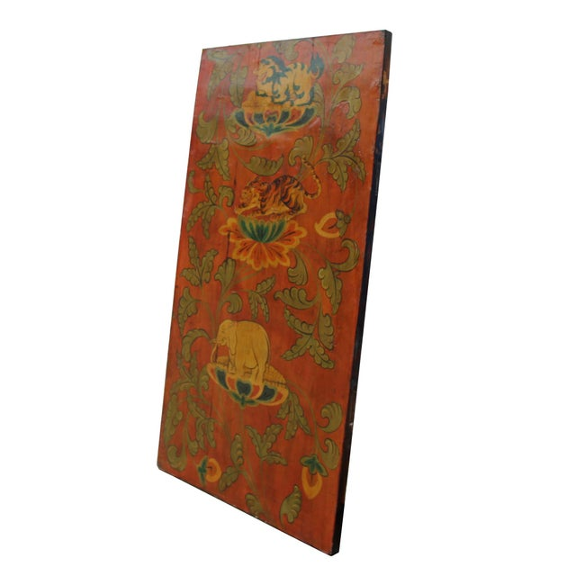 Chinese Tibetan Vintage Elephant Tiger Animal Graphic Wood Wall Panel For Sale - Image 4 of 9