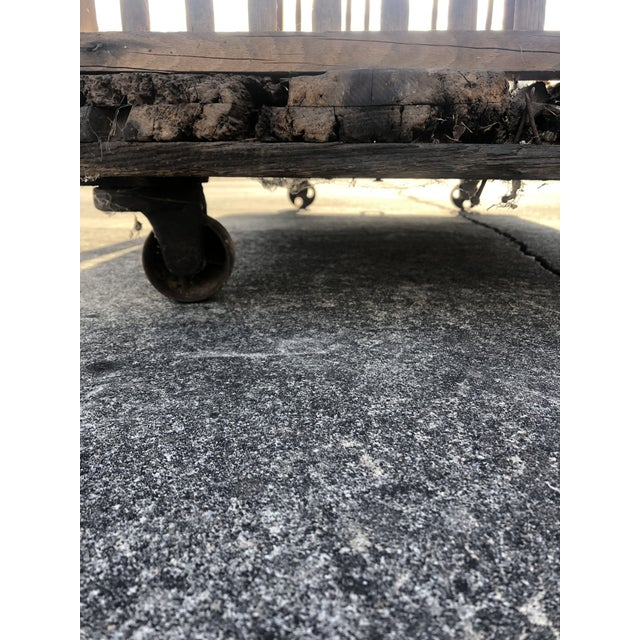 Rustic Industrial Wooden Cart on Iron Casters For Sale - Image 10 of 13