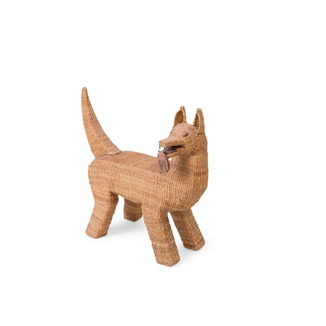 Mid-Century Modern Mario Lopez Torres Woven Reed and Copper Dog For Sale - Image 3 of 6