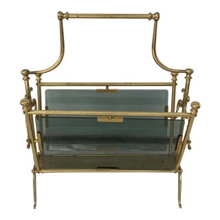 Vintage Maison Bagues Brass and Smoked Glass Magazine Rack For Sale