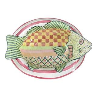 Mackenzie Childs Majolica Fish Bowl For Sale