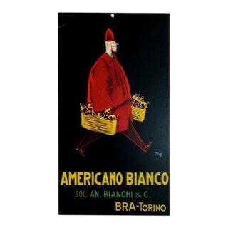 1933 Original Italian Art Deco Carton, Americano Bianco Advertisement - Carton