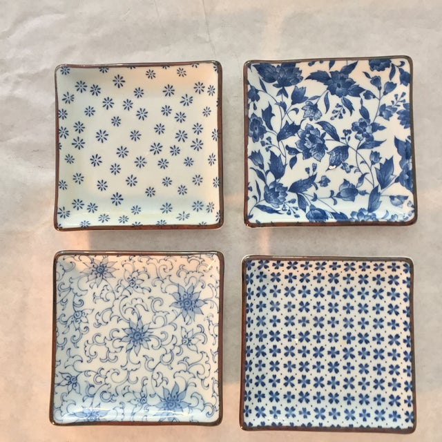 Ceramic Blue and White Asian Patterned Plates - Set of 4 For Sale - Image 7 of 7
