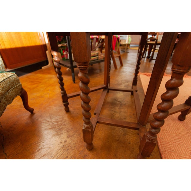 Brown 20th Century Traditional Oak Barley Twist Gate Leg Drop Leaf Table For Sale - Image 8 of 11