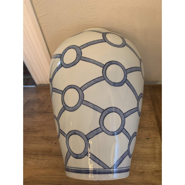 2010s Blue and White Linked Circles Porcelain Temple Jar For Sale - Image 5 of 13