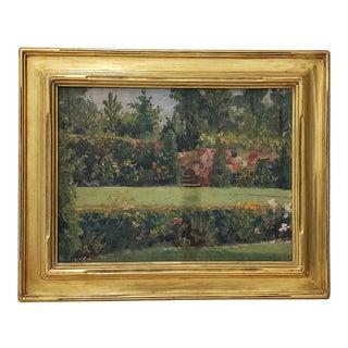 "Vintage Oil Painting ""Garden of Major MC Crossin, Lenoia, Nj"" by Captain Broberg C.1937 For Sale"