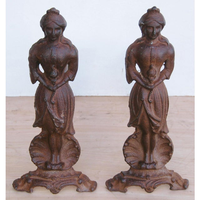 Vintage Cast Iron Lady Fireplace Andirons - Pair - Image 2 of 11
