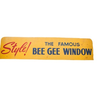 Mid Century Modern Bee Gee Window Advertising Sign For Sale