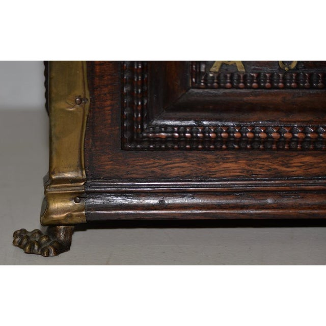 Early 18th Century Carved Walnut & Brass Alms Box Beautifully carved antique Alms Box with fine detail and a rich patina....