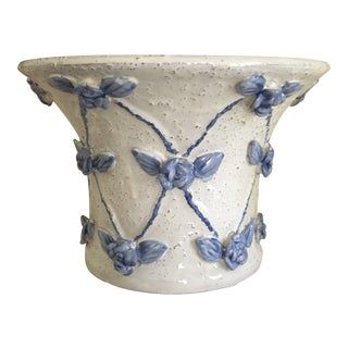 Raised Flowers and Leaves Blue and White Pottery Planter For Sale