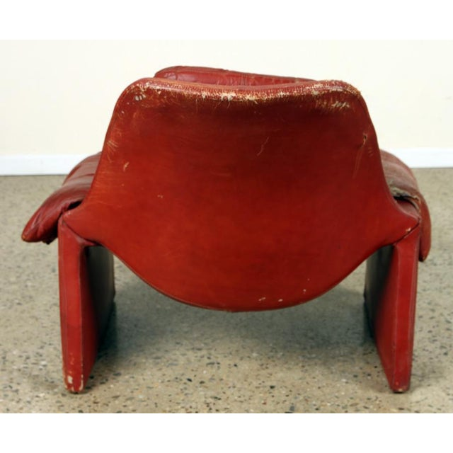Vittorio Introini Vintage Vittorio Introini for Proposals Distressed Rich Red P60 Leather Lounge Chair and Stool For Sale - Image 4 of 8
