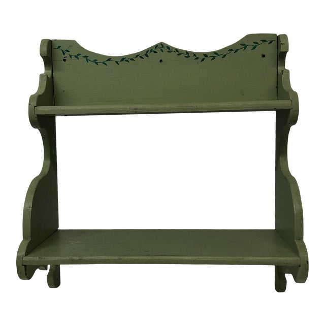 Hand Painted Wooden Country Wall Artisanal Display Shelf For Sale