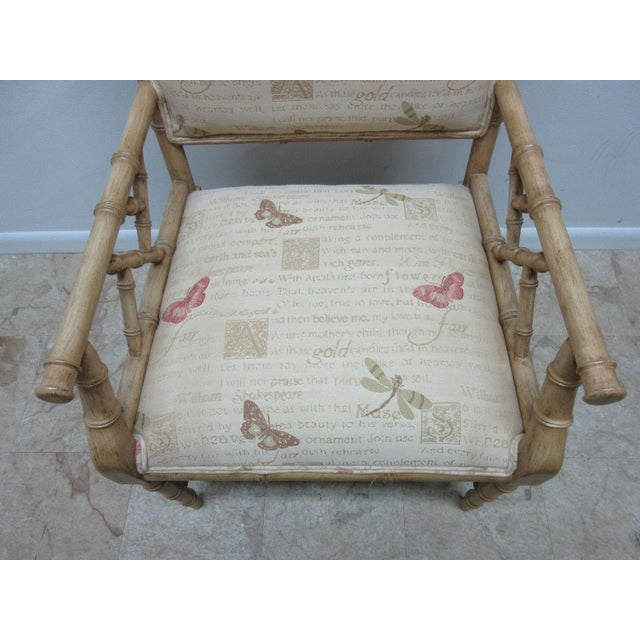Pink Vintage Faux Bamboo Regency Armchair For Sale - Image 8 of 9