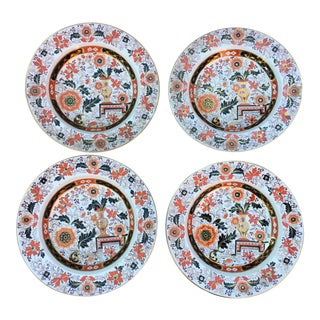 Antique Ironstone Chinoiserie Plates Set 4 For Sale