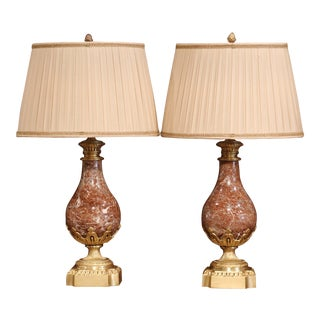 Pair of 19th Century French Red Marble and Bronze Cassolettes Table Lamps For Sale
