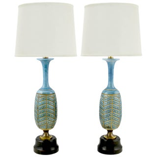 Pair of Rembrandt Cerulean Blue Pottery and Brass Table Lamps For Sale