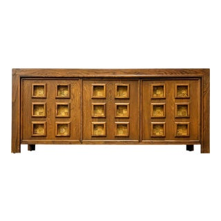 1970s Oak and Cork Brutalist Buffet For Sale