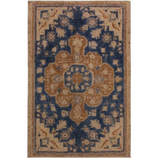Vintage Distressed Arline Blue/Tan Wool Rug - 2′10″ × 4′2″ For Sale