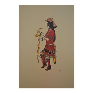Aztec Inspired Lithograph For Sale