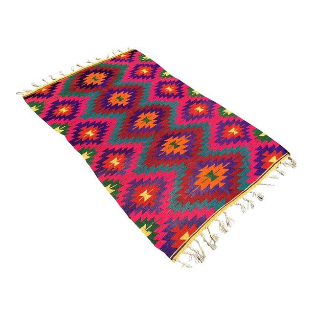 Hot Pink Turkish Kilim Rug For Sale