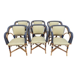 1980s Vintage Maison Drucker Luxembourg Armchairs- Set of 6 For Sale