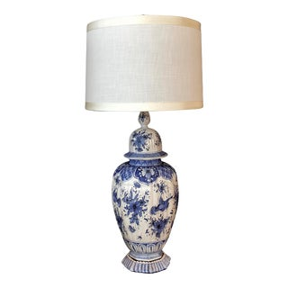 A Large and Good Quality Dutch 19th Century Blue and White Tin-Glazed Delft Ginger Jar Now Mounted as a Lamp For Sale