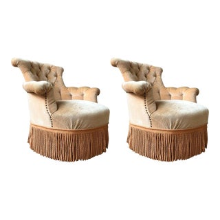 19th Century French Armchairs With Fringe - a Pair For Sale